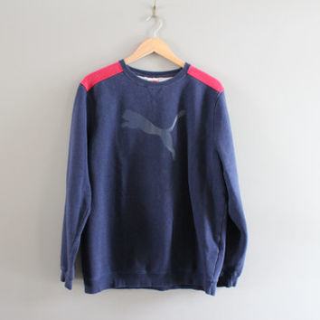 PUMA Sweatshirt Blue Fleece Lining Cotton Puma Pullover Logo Sweater Slouchy Baggy Vintage Minimalist 90s Sweater Size M - L