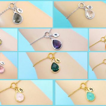 Choose Your Stone Color, Personalized, Letter, Initial, Bracelet, Custom stone and body color and hand stamped initial, Gift, jewelry