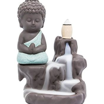 Incense Burner Backflow Tower Cones Sticks Holder Ceramic Porcelain Buddha Monk Ash Catcher- Green