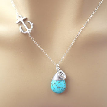 Anchor turquoise stone necklace, initial necklace, minimal necklace, modern, cute necklace, gift jewelry, birthday necklace