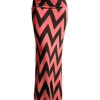 Coral and Black Chevron Maxi Skirt