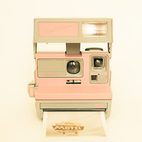 Polaroid camera photograph vintage camera pastel pink by bomobob
