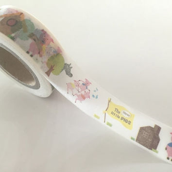 Three little Pigs - Washi tape - 10 meters WT797