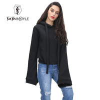 [TWOTWINSTYLE] streetwear women hoodies sweatshirts super long flare sleeves pullovers with hat 2016 autumn winter fashion new
