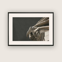 Monochromatic Photograph of Renaissance Marble Sculpture, Classical Wall Art.