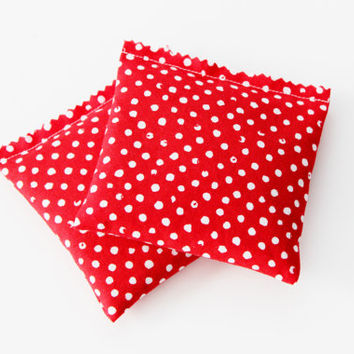 Red Polka Dot Lavender Sachets, Organic Drawer Freshener, Set of 2