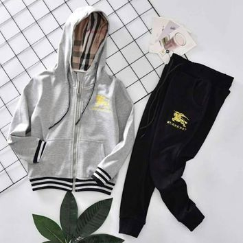 Burberry Girls Boys Children Baby Toddler Kids Child Fashion Casual Cardigan Jacket Coat Pants Trousers Two Piece Set