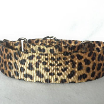 "Leopard Martingale or Quick Release Collar Nylon 3/4"" 1"" Martingale 1.5"" Martingale 2"" Martingale"