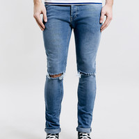 Light Wash Blue Stretch Skinny Ripped Jeans - Stretch Skinny Jeans - Men's Jeans - Clothing