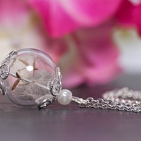Bridesmaid Gift Set - Set of 4 hand blown glass pendants filled with delicate dandelion seeds - a perfect gift for your bridesmaids