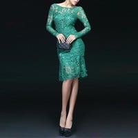 Openwork Design Long Sleeve Backless Solid Color Scoop Neck Lace Trumpet Dress For Women