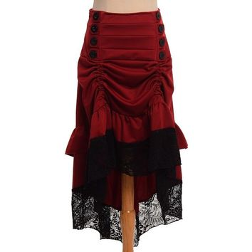Gothic Steampunk Skirt Clothing High Low Vintage Party Skirts Medieval Victorian