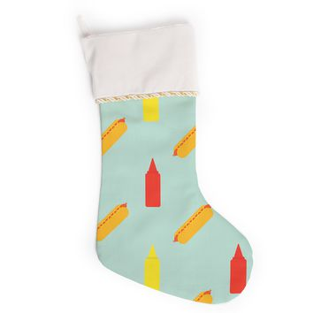 "Will Wild ""Hot Dog Pattern"" Food Christmas Stocking"