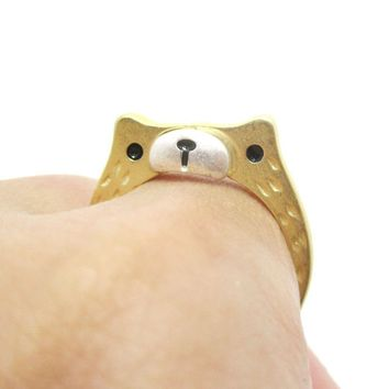Adorable Teddy Bear Face Shaped Textured Animal Ring in Gold | DOTOLY