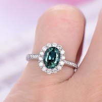 Oval Alexandrite Engagement Ring Pave Diamond 18K White Gold 6x8mm