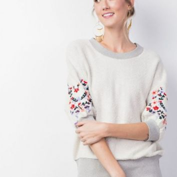 Short Sleeve Embroidered French Terry Pullover