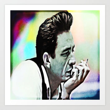 Johnny Cash  Art Print by Ellie B. Noels
