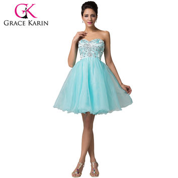 Cute Powder Blue Organza+Satin Homecoming Dress Short Knee Length Birthday Party Ball Prom Gown 6161