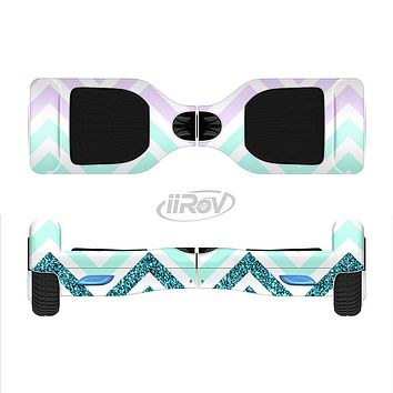 The Light Teal & Purple Sharp Glitter Print Chevron Full-Body Skin Set for the Smart Drifting SuperCharged iiRov HoverBoard