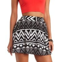 Tribal Print High-Waisted Skater Skirt - Black/White