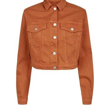 Rust Cropped Denim Jacket | New Look