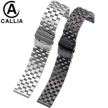 High Quality Stainless Steel watch straps Black 18 20 22 24 26mm For  Hamilton IWC Diesel men's metal watch bracelets