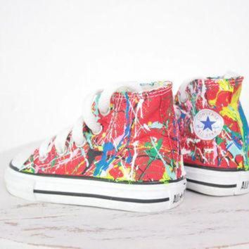 CREYONB Kid's LowTop or HighTop Splatter Painted Converse or Vans Sneakers Size 10.5-3, Custom