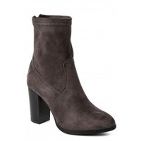 Chic And Sassy Grey Mid Calf Boots