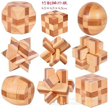 Wooden children's puzzle toys Kong Ming Lock Lu Bansuo sphere lock, square magic cube fourteen body model build toys