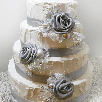 Ready to Ship! Silver Cake Topper Picks, Set of 3 with matching ribbon for tiers. Christmas Wedding Cake Toppers.