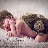 Newborn Turtle Photo Prop Set  Baby Hat And by AdornmentsByDesign