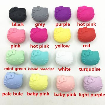 50pcs/lot Round Bead Silicone Teething Beads 20mm Baby Teether Toys DIY Bpa Free hello kitty necklace Beads -baby Colors