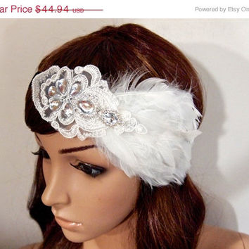 SALE 40% OFF Great Gatsby Dress Headpiece 1920s Flapper Headband headbands for 1920s dresses White feather Vintage Glitter Ribbon