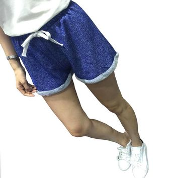 Casual loose fit cotton acrylic polyester drawstring shorts  Sizes:  S - L