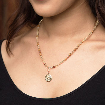 Citrine and Jade Gold OM Necklace