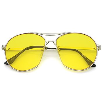 Oversize Color Tone Flat Lens Aviator Sunglasses A891