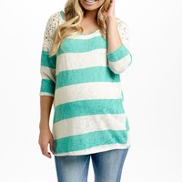 Teal Striped Crochet Shoulder 3/4 Sleeve Knit Maternity Top