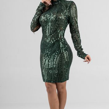 Emerald Long Sleeve Sequin Mock Neck Dress
