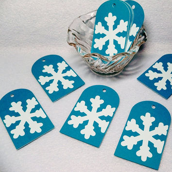Snowflake Gift Tags 12 pieces, Frozen Favor Tag, Onderland Birthday Party, Christmas, Holiday, Winter