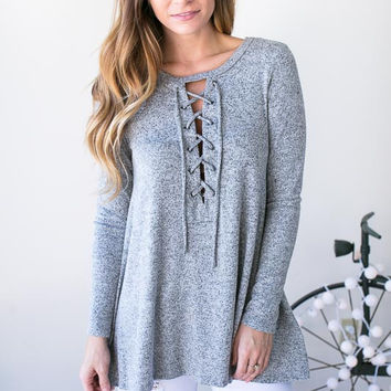 The Gap Between Us Lace Up Top - Grey