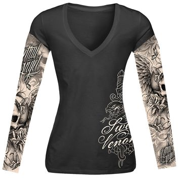 "Women's ""Skull And Tattoos"" Long Sleeve Tee by Lethal Angel (Black)"
