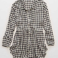 Aerie Softest Flannel Ever! Shirt , Stone