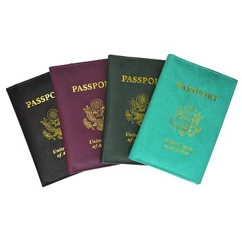 USA Gold Genuine Leather Passport Cover for Travel with Credit Card Slots 601 CF USA (C)