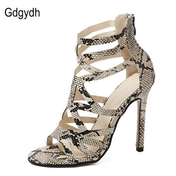 Gdgydh Summer Women Gladiator Sandals High Heels Fashion Sexy Snakeskin Leather Open Toe Thin Heel Cut-outs Female Summer Shoes