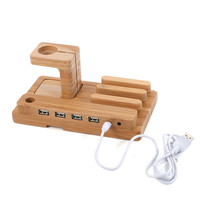 Multi-function Bamboo Phone Desk Stand Holder for iPhone iPad mini for Apple Watch Charging Dock 4 USB Ports with Charging Cable