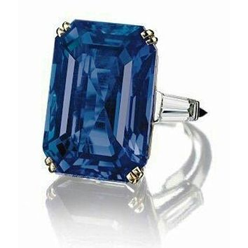 The Del Mar, A 30CT Emerald Cut Sapphire Blue Ring