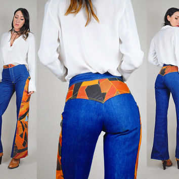 70's leather patchwork FLARED Jeans