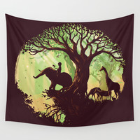 The jungle says hello Wall Tapestry by Budi Satria Kwan