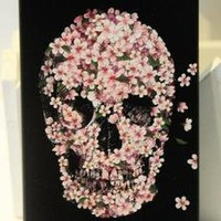 waloli shopping mall — Cool Pink Flower Skull Hard Cover Case For Iphone 4/4s