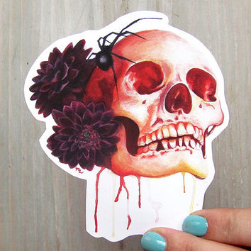 Skull Vinyl Waterproof Decal - Widow Maker